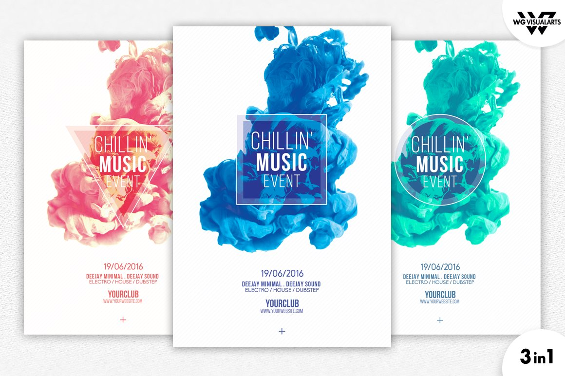 3in1 Minimal Abstract Flyer Template Flyer Templates Creative Market