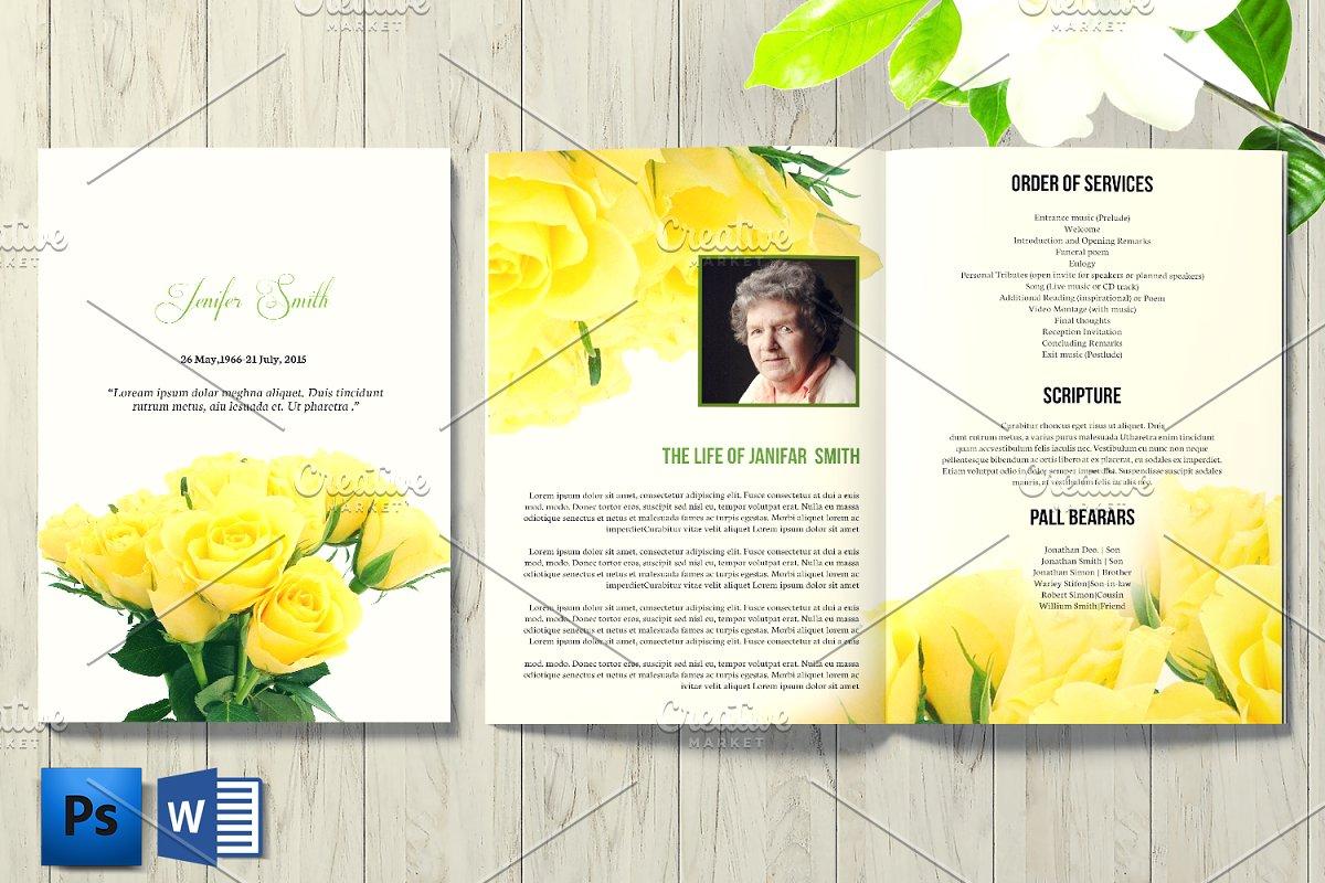 Floral Funeral Program - V1012