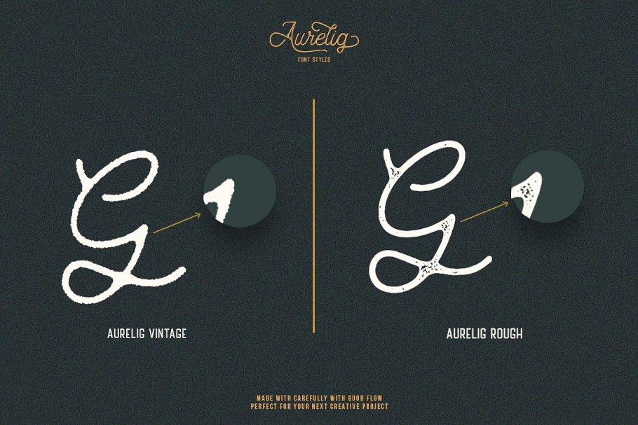 Best Aurelig Vintage Script (3 Fonts) Vector