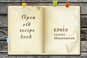 Open old recipe book