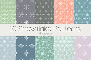 10 Seamless Snowflake Patterns