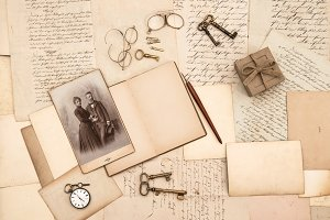old papers. vintage accessories