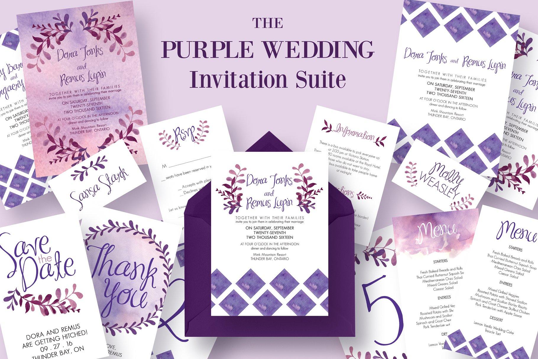 The Purple Wedding Invitation Suite - Invitation Templates ...