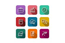 Set of flat business web icons