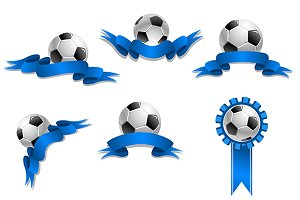 Set of soccer balls with blue ribbon