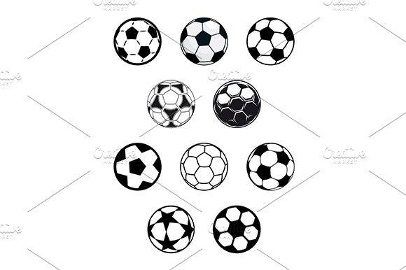 Set of soccer or football balls in Graphics