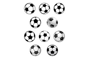 Set of soccer and football balls