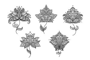 Black and white floral motifs of per
