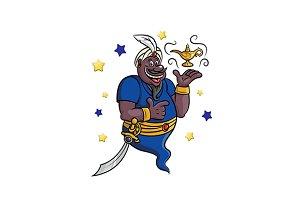 Cartoon genie with lamp