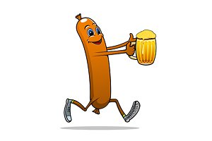 Running sausage with beer