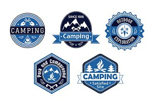 Camping emblems and labels for trave