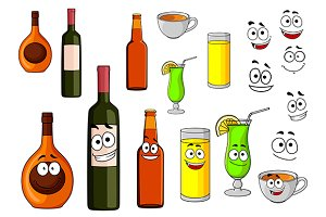 Beverage icons in cartoon style