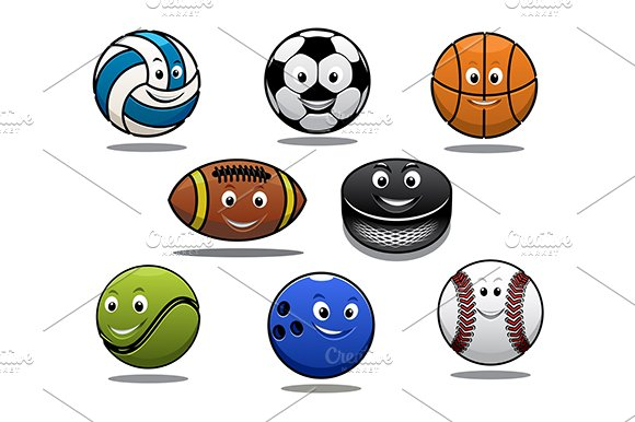 Set Of Cartoon Sports Balls Equipmen Pre Designed Illustrator Graphics Creative Market