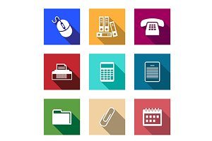 Flat office supply icons