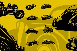 8 Vintage Car Spot Illustrations