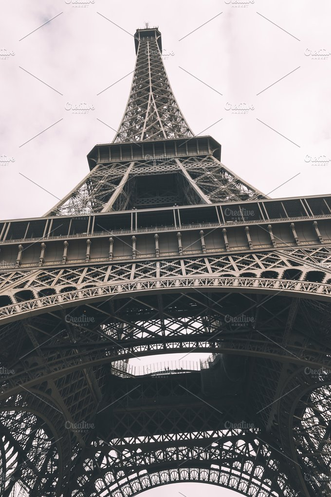 looking up eiffel tower architecture photos creative market. Black Bedroom Furniture Sets. Home Design Ideas