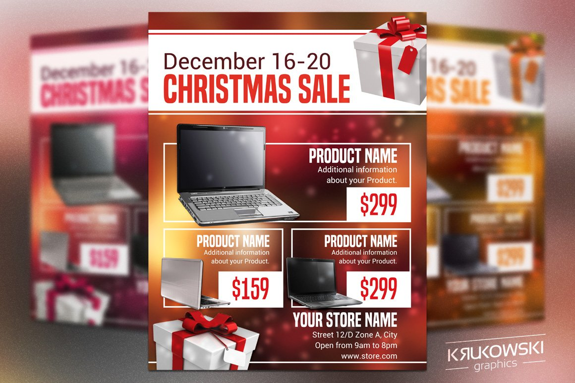 Christmas Sale Flyer Template Flyer Templates Creative Market - Sell your house flyer template
