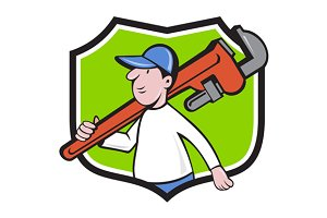 Plumber Holding Monkey Wrench Crest