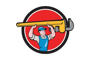 Plumber Lifting Monkey Wrench Circle