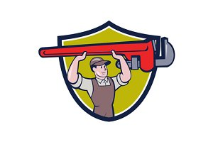 Plumber Lifting Monkey Wrench Crest