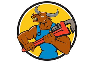 Minotaur Bull Plumber Wrench Circle