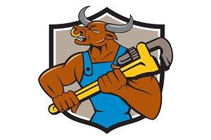 Minotaur Bull Plumber Wrench Crest C