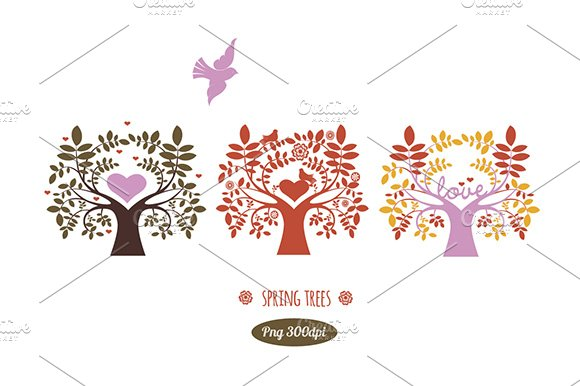 Spring trees/Png clipart
