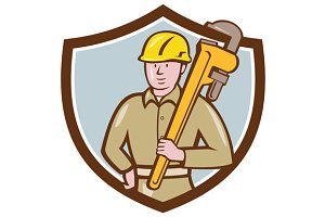 Plumber Holding Wrench Crest Cartoon