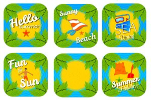 Set beach stickers.