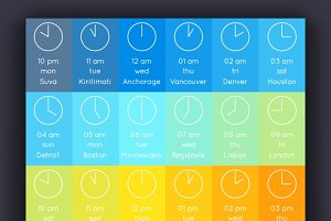 Vector world clock and time zones