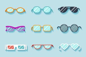 Set of flat vector glasses