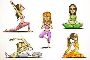 Set of five woman practicing yoga