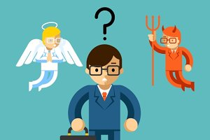 Businessman with angel and demon