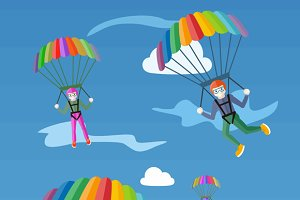 Happy Peoples Plans with Parachutes
