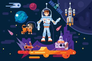 Space Travel  Theme Art Work.