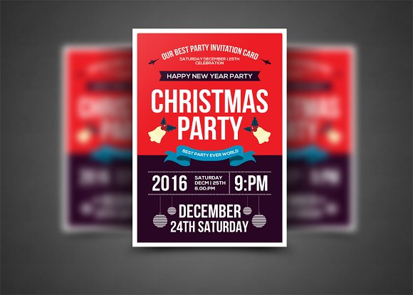 christmas party flyer template flyer templates creative market. Black Bedroom Furniture Sets. Home Design Ideas