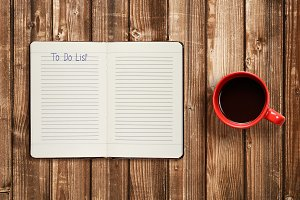To do list on diary and coffee cup