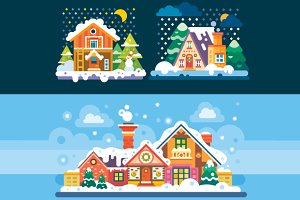 Nice Winter Day and Night Landscapes