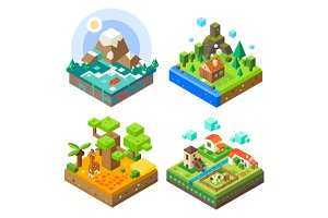 Isometric Tile Land Set.
