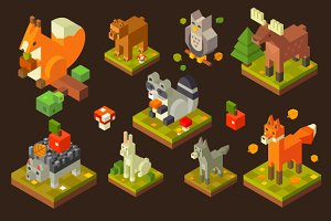 Isometric Forest Bird and Animal Set