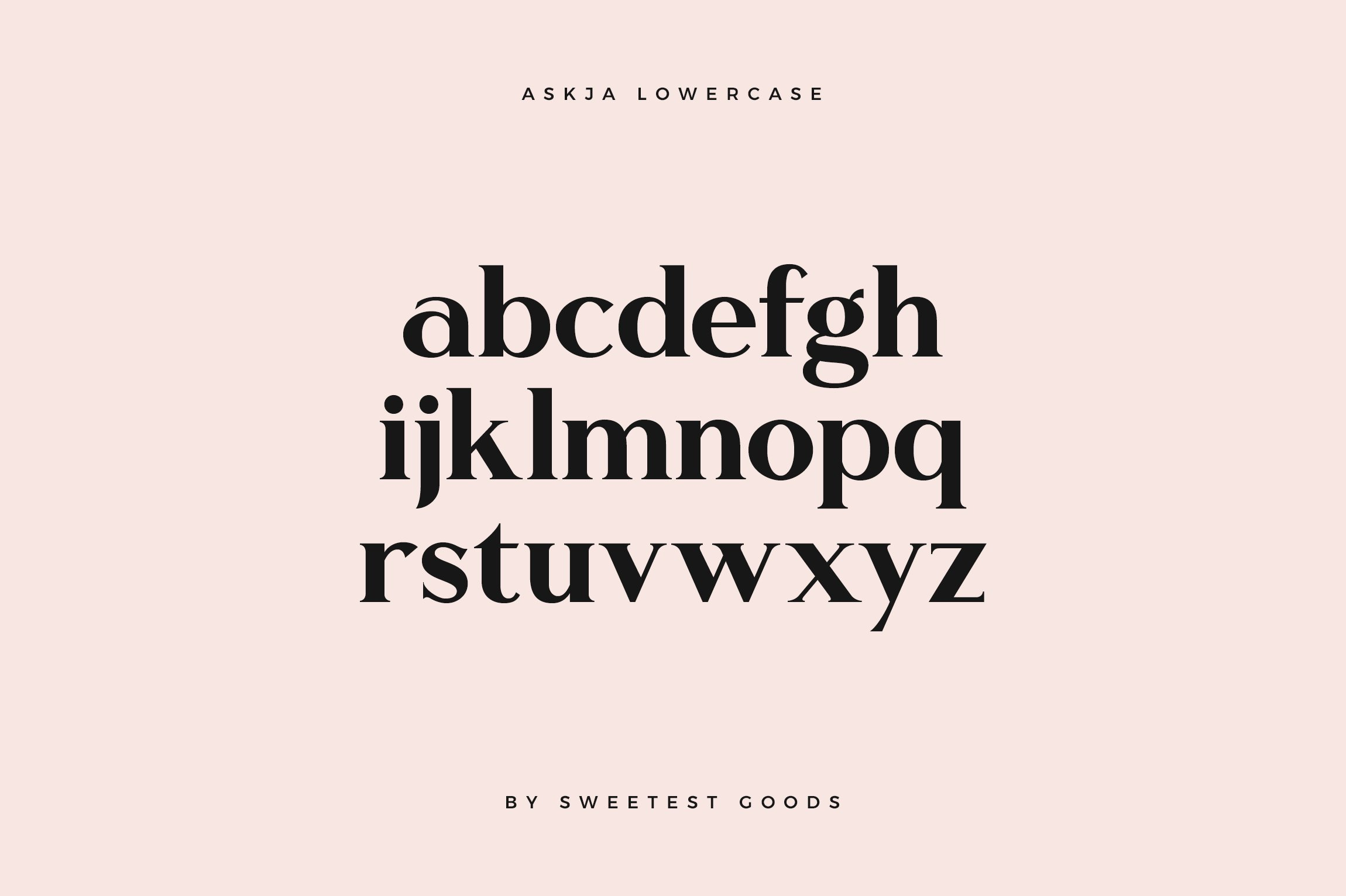 askja font alphabet sweetest goods lowercase 8