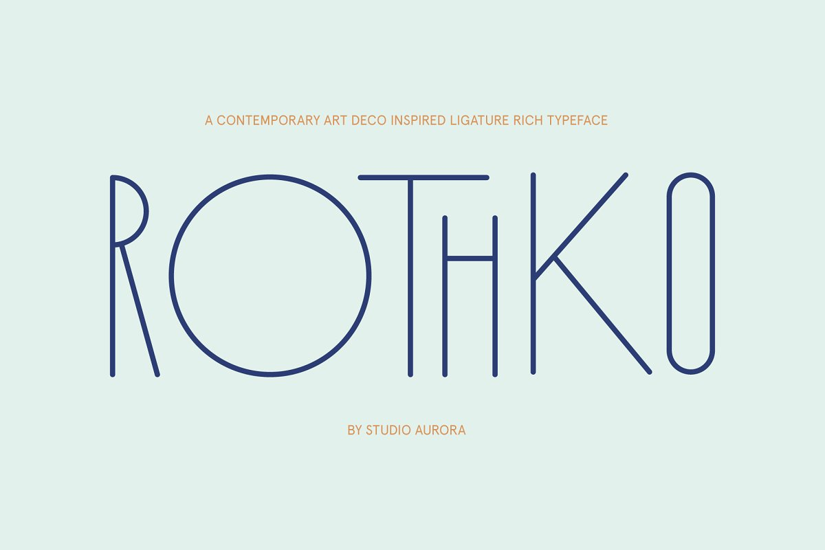 Rothko Modern Art Deco Display Font in Display Fonts - product preview 8