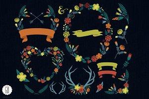 Floral wreaths heart antlers laurels