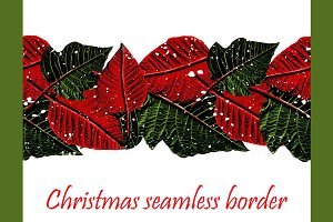 Christmas seamess pattern + border.