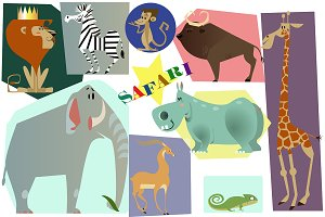 Safari animals vector collection