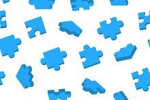 Blue Jigsaw pieces seamless pattern