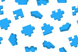 Blue Jigsaw pieces seamless pattern