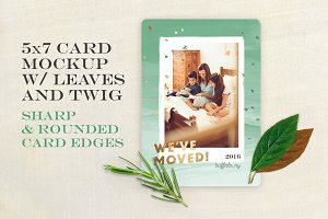 Card Mockup w/ Leaves and Twig