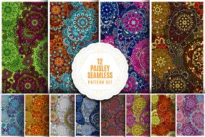 Paisley seamless pattern set