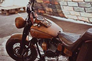 Brown Motorcycle Detail Closeup View